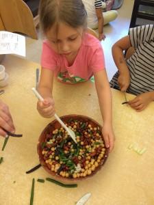 Assembling the 3 bean salad